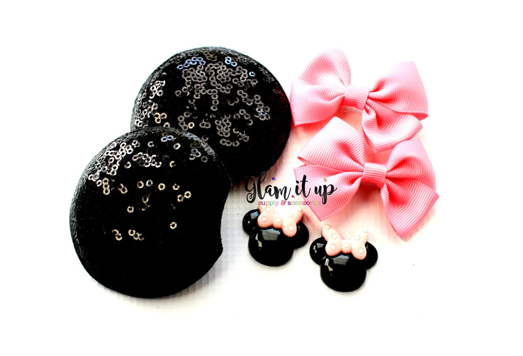 Minnie Mouse sequin Ears-Diy Kit- Diy headband-Baby Headband-Toddler Headband-bows-Minnie mouse inspired pink Ears