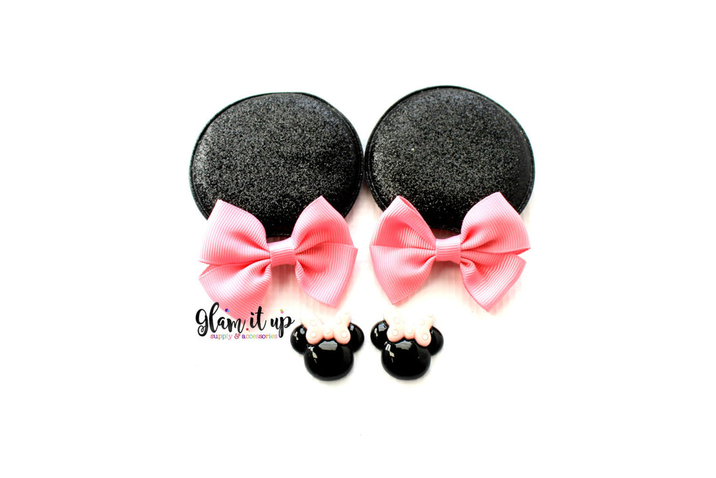 Minnie Mouse Glitter Ears-Diy Kit- Diy headband-Baby Headband-Toddler Headband-bows-Minnie mouse inspired pink Ears