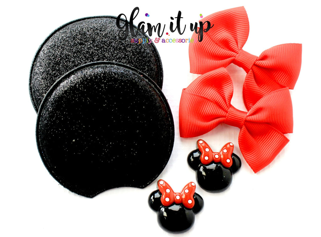 Minnie Mouse Glitter Ears-Diy Kit- Diy headband-Baby Headband-Toddler Headband-bows-Minnie mouse inspired red Ears
