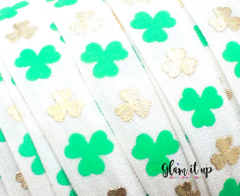 "St Patricks Print 5/8"" FOE - Fold Over Elastic"