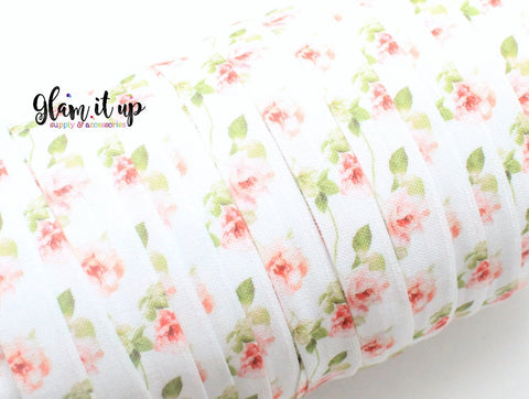 "Flower Print 5/8"" FOE - Fold Over Elastic"