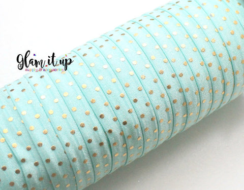 "Gold Dot Mint Print 5/8"" FOE - Fold Over Elastic"