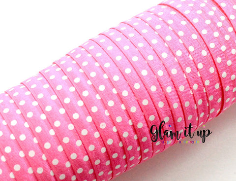 "Polka Dot Print 5/8"" FOE - Hot Pink"