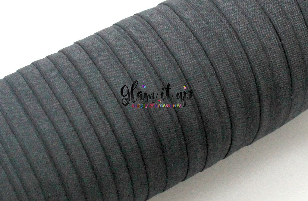 "Black 5/8"" FOE - Black Fold Over Elastic"