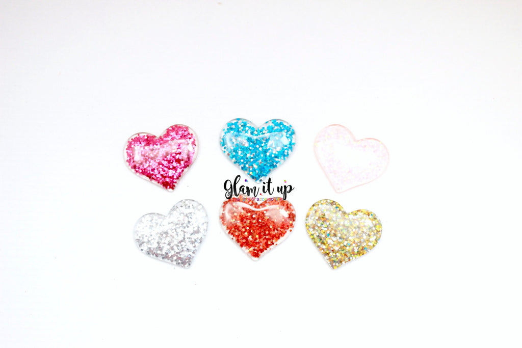 Glitter Heart Bow Center