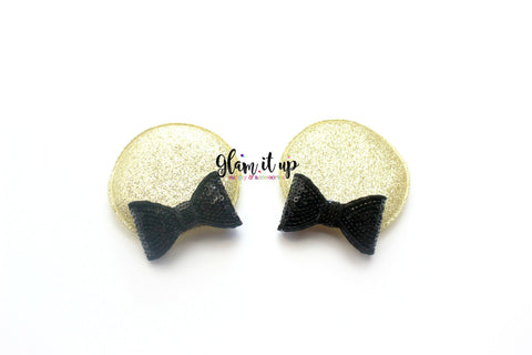 Minnie Mouse Ears-Diy Kit- Diy headband-black and gold Diy Ears-Baby Headband-Toddler Headband- Hair Bows-Minnie mouse black and gold Ears