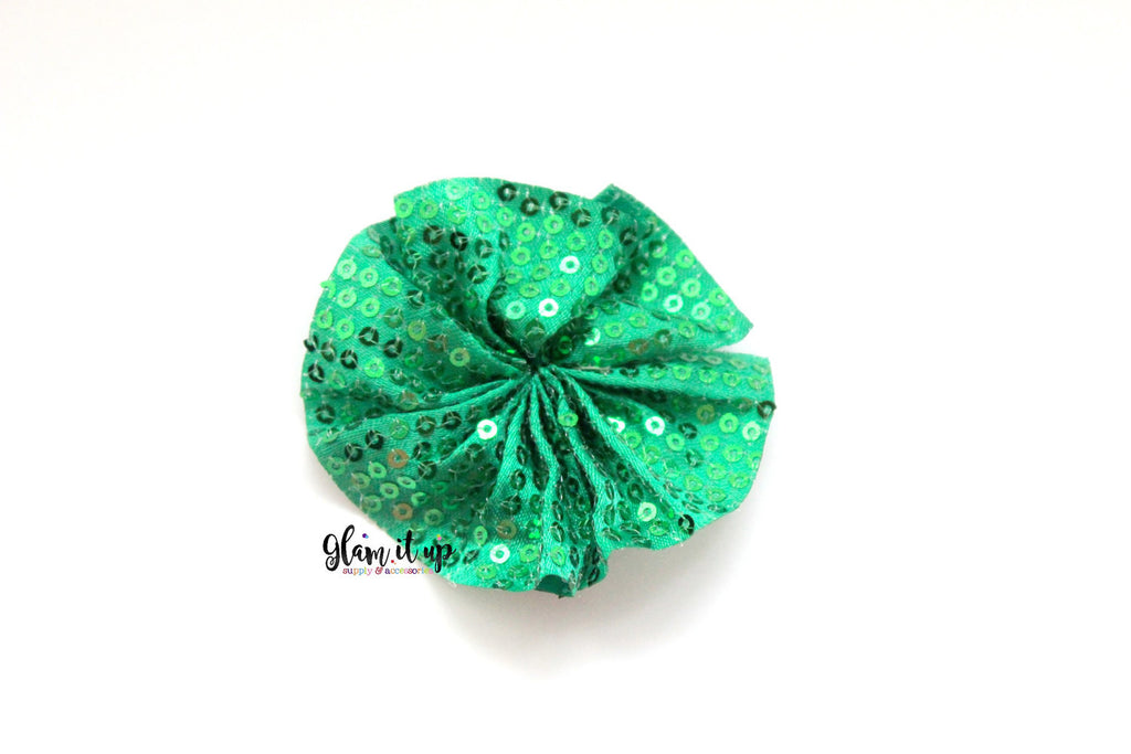 Green Sequin Ballerina Ruffle Flower