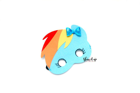 MLP Mask-Felt mask-Dress up-halloween mask-party mask-party favor-MLP costume-rainbow dash mask-rainbow dash costume-rainbow dash