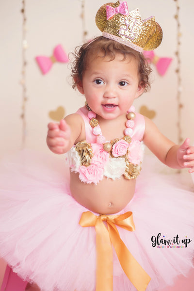 First Birthday Hat-first birthday crown-First birthday-first birthday outfit-1st Pink and gold birthday-pink and gold crown-Minnie Crown