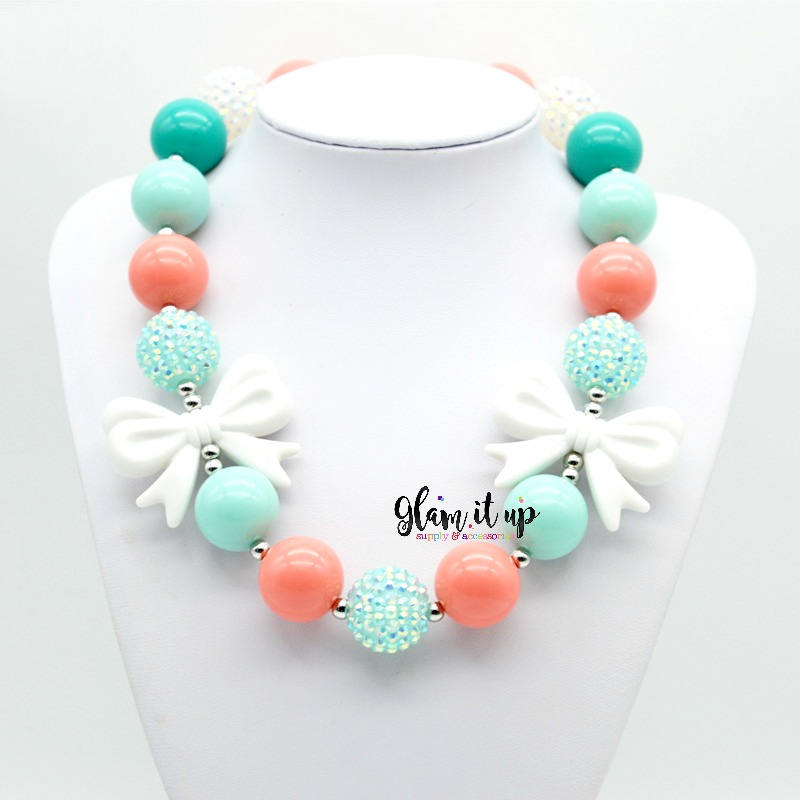 Coral and Mint Chunky Necklace
