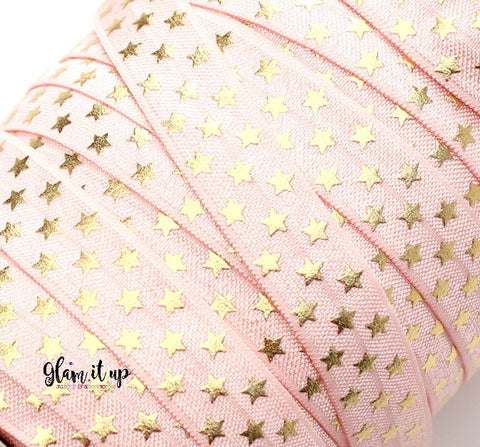 "Pink & Gold Star Print 5/8"" FOE - Fold Over Elastic"