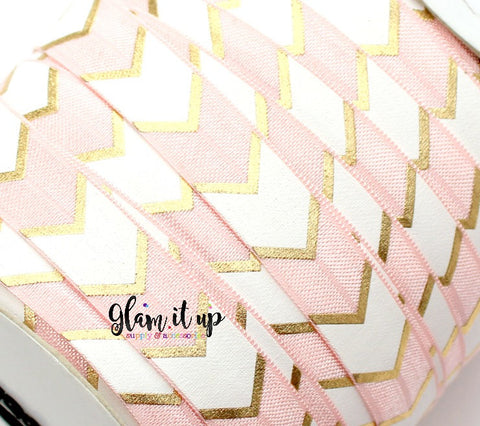 "Pink & Gold Chevron Print 5/8"" FOE - Fold Over Elastic"