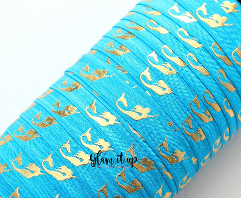 "Mermaid Turquoise Print 5/8"" FOE - Fold Over Elastic"