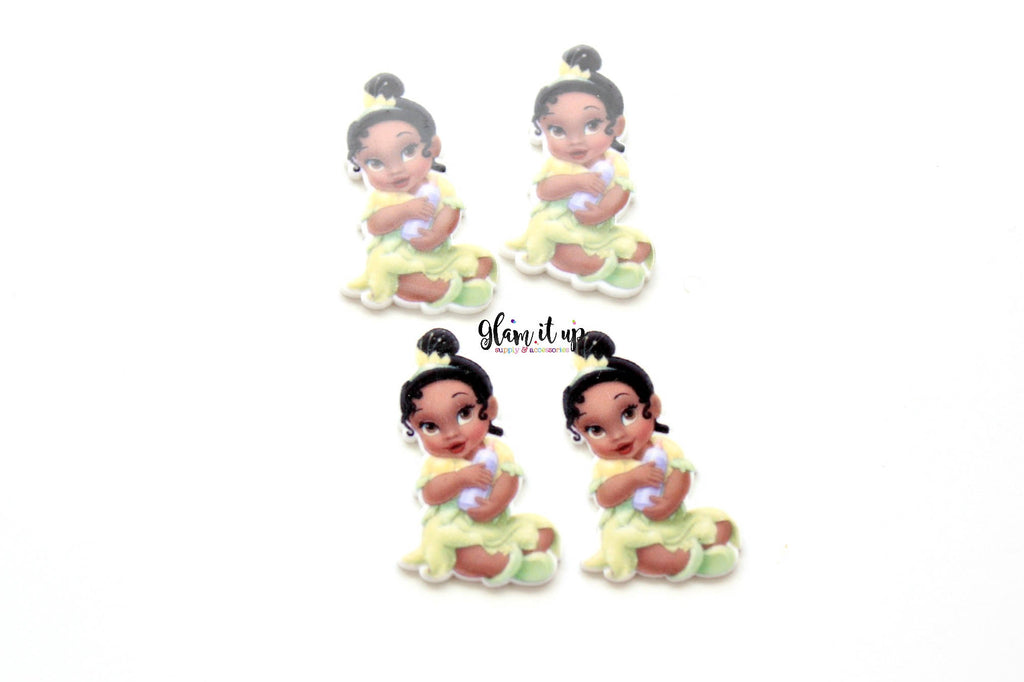 Tiana Hair Bow Center - Baby Princess Tiana