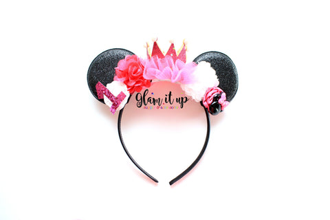 Minnie Mouse ears-Minnie ears-minnie mouse Glitter headband-Baby Headband-Toddler Headband- Hair Bows-Minnie mouse headband-Minnie Hairbow