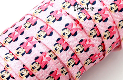 "Minnie Print 5/8"" FOE - Fold Over Elastic"
