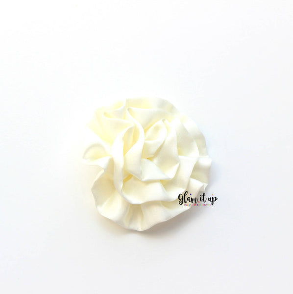 "Large Satin Ivory Ruffle 3"" Flower"