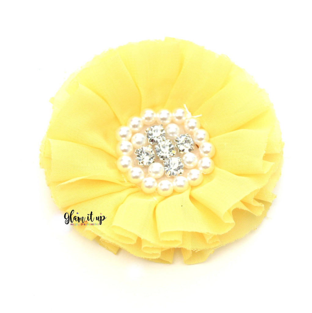 Chiffon Yellow Ruffle Flower