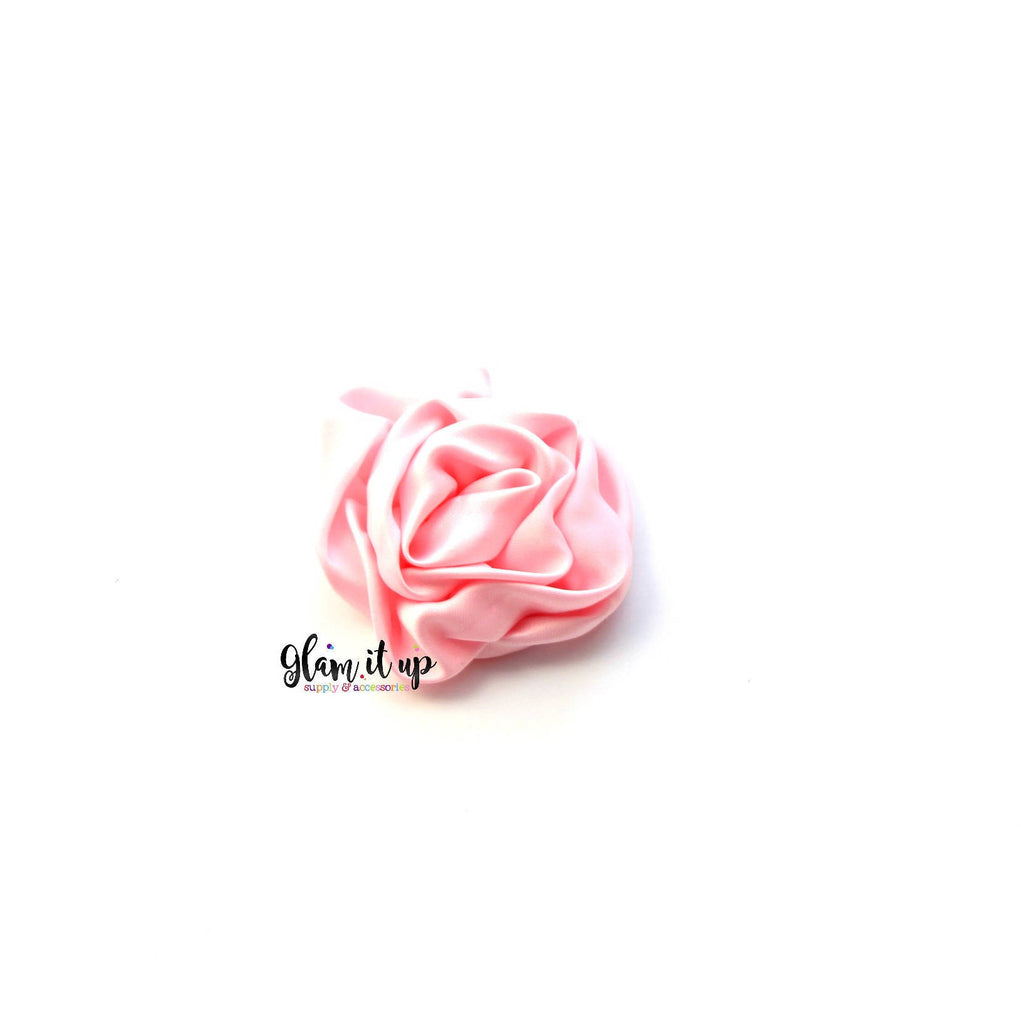 Satin Rosette Light Pink Flower