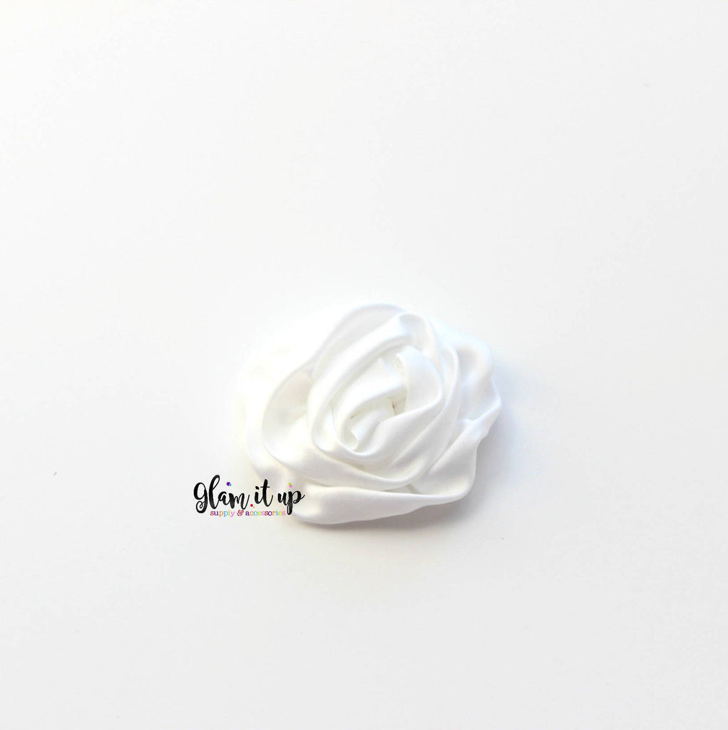 "Satin White Rosette 3"" Flower"