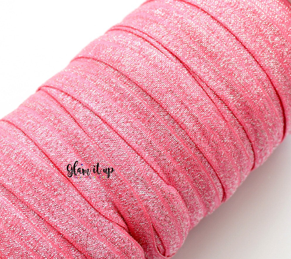 "Red Glitter 5/8"" FOE - Fold Over Elastic"
