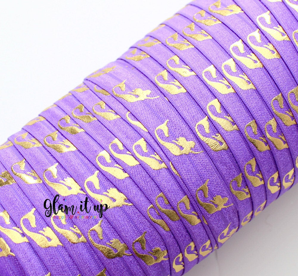 "Mermaid Print Purple 5/8"" FOE - Fold Over Elastic"