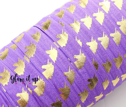 "Unicorn Print Purple 5/8"" FOE"