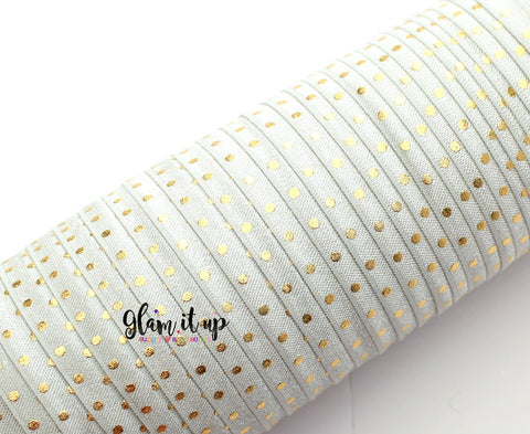 "Gold Dot Grey Print 5/8"" FOE - Fold Over Elastic"