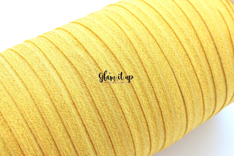 "Gold Glitter 5/8"" FOE - Fold Over Elastic"