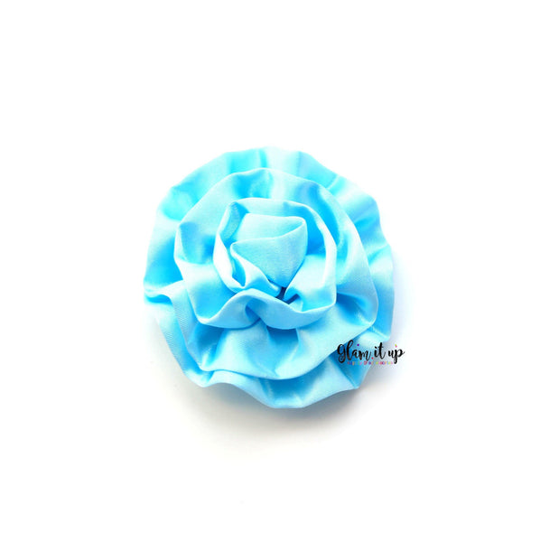 "Large Satin Light Blue Ruffle 3"" Flower"