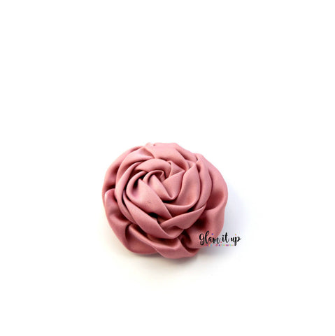 "Satin Rosette Dusty Rose 3"" Flower"