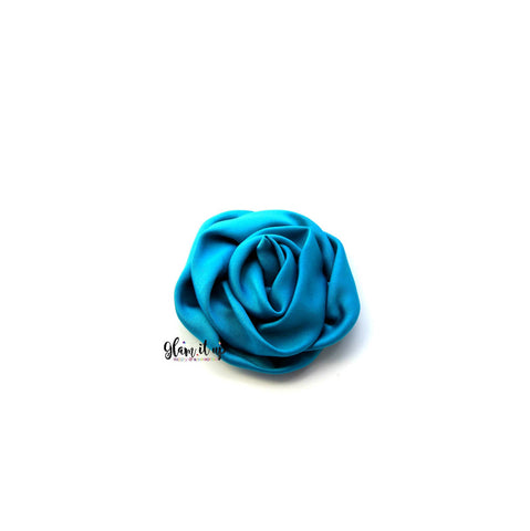"Satin Teal Rosette 3"" Flower"