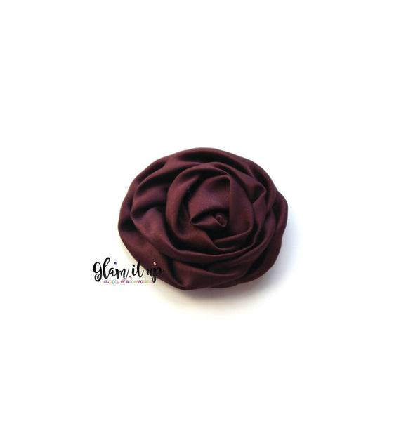 "Satin Plum Rosette 3"" Flower"