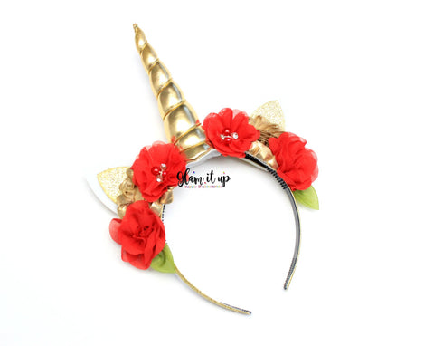 Unicorn Red Headband - Christmas Unicorn