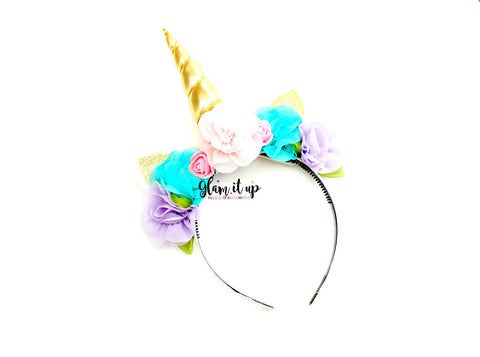 Unicorn Gold Headband - Floral