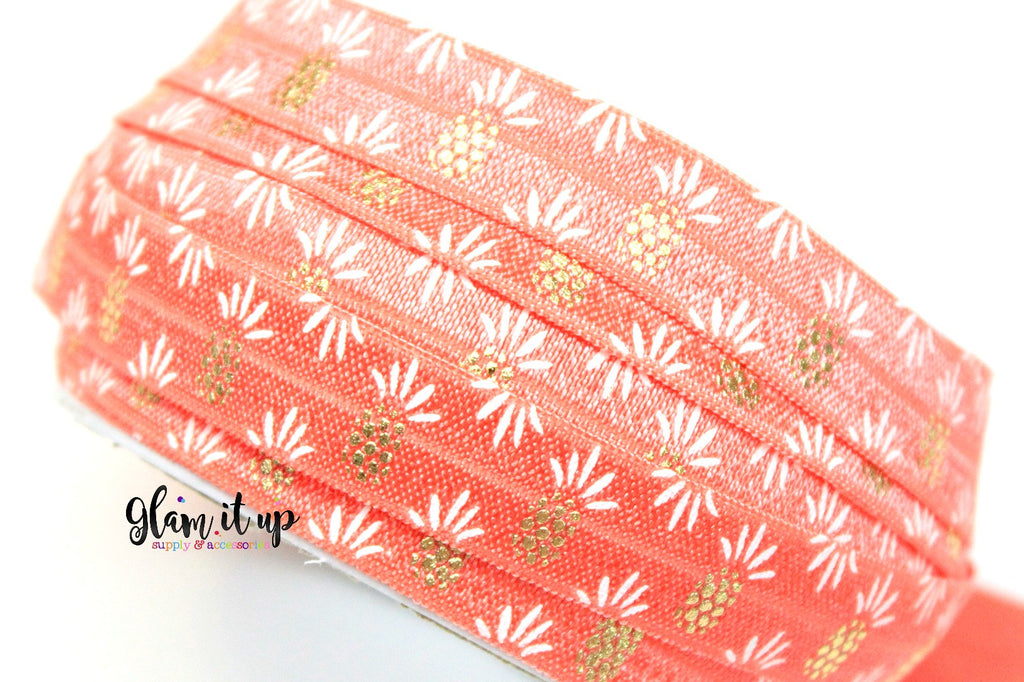 "Pineapple Print 5/8"" FOE - Fold Over Elastic"