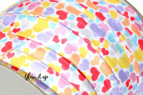 "Rainbow Heart Print 5/8"" FOE - Fold Over Elastic"