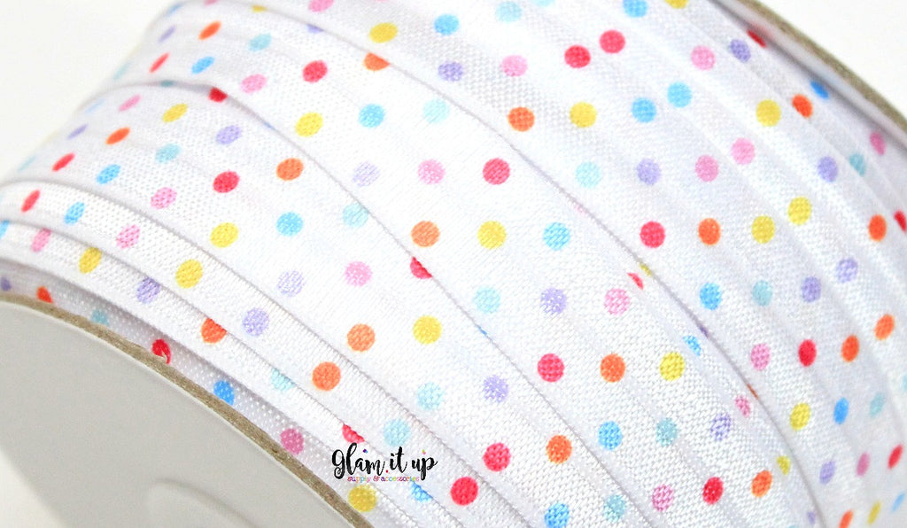 "Polka Dot Rainbow Print FOE - 5/8"" Fold Over Elastic"