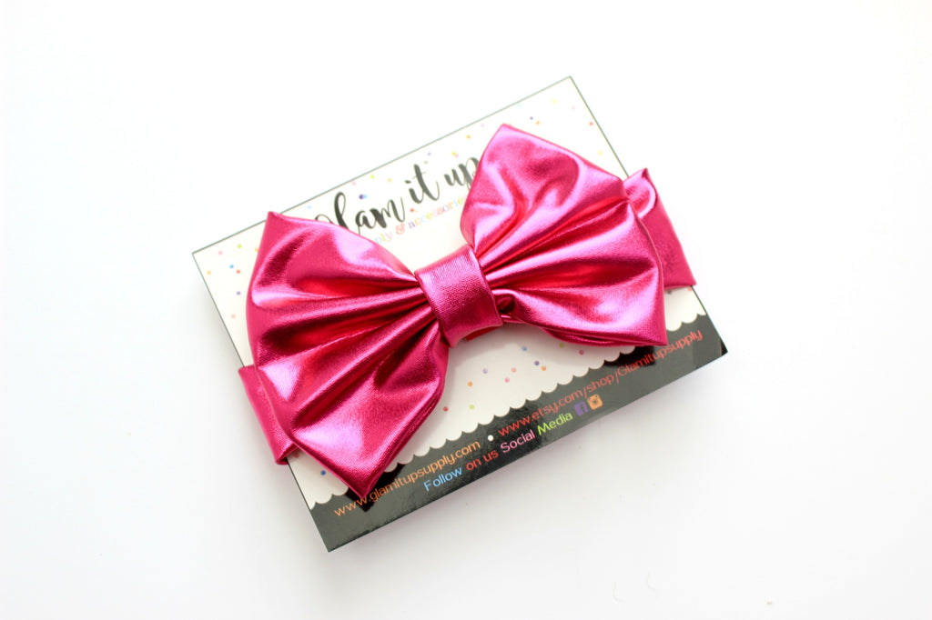 Hot pink Metallic Bow Headband
