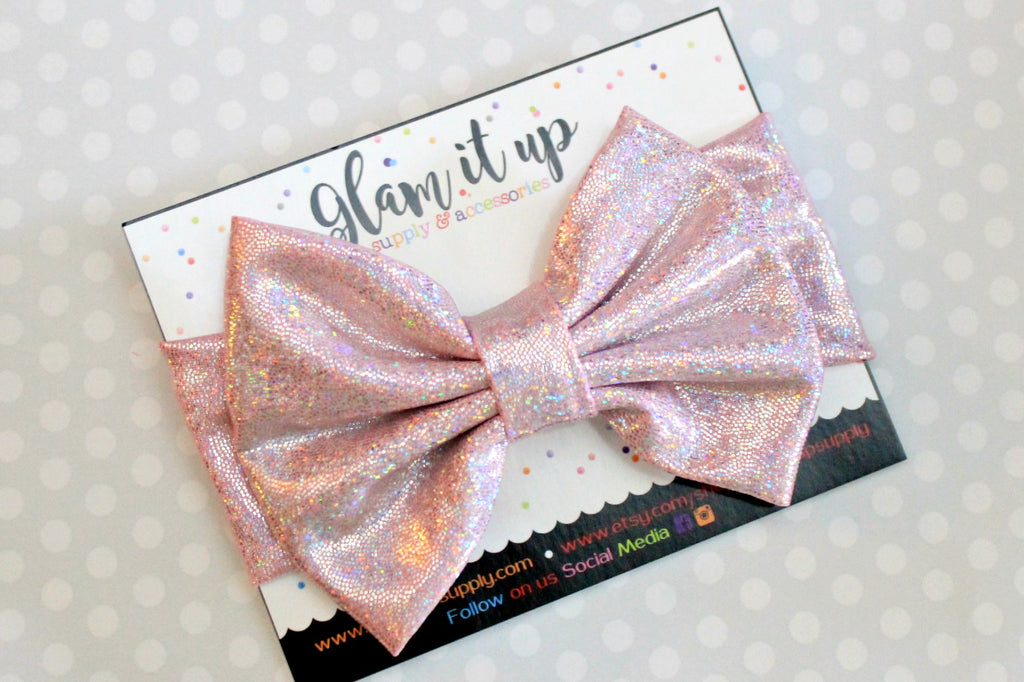 Light Pink Sparkle Metallic Bow Headband