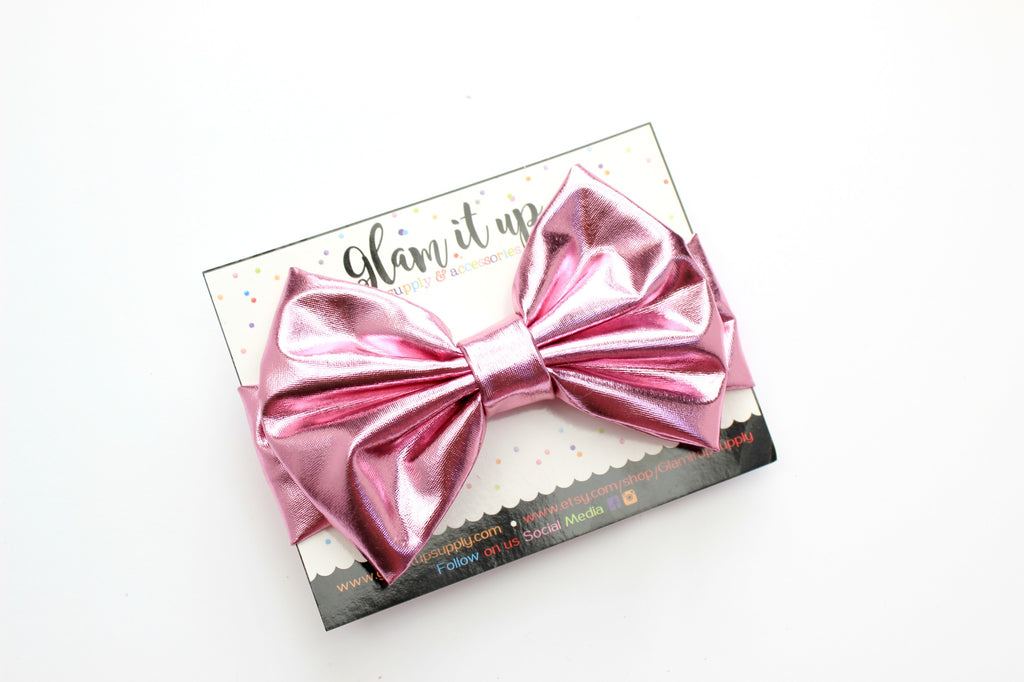 Light pink Metallic Bow Headband