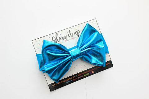 Turquoise Blue Metallic Bow Headband