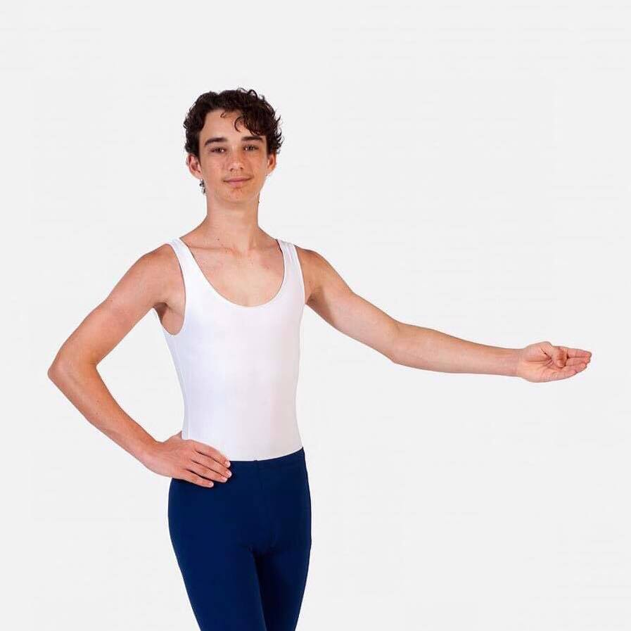PW Dancewear Boys/Men's Sleeveless Leotard - White