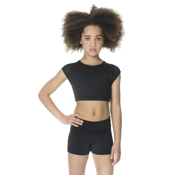 Studio 7 Children's Activate Mesh Crop Top - Black