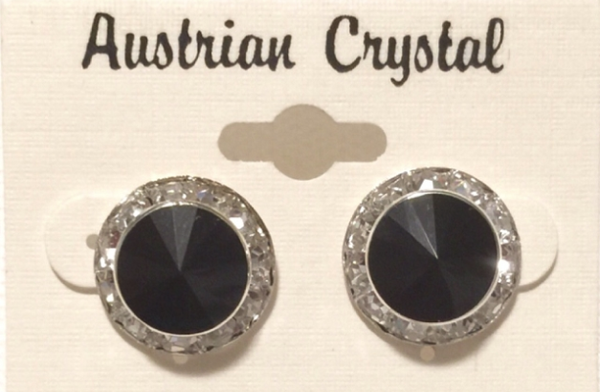 Austrian Crystal Stud Earrings - Black