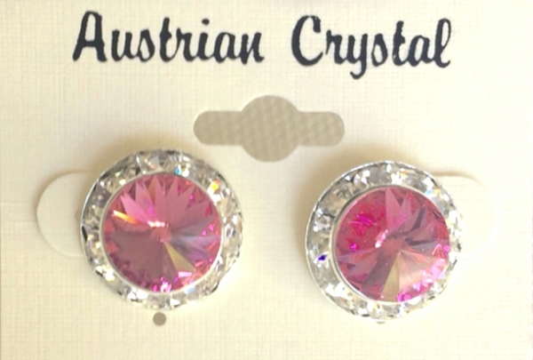Austrian Crystal Stud Earrings - Hot Pink
