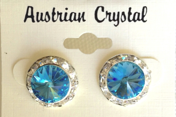 Austrian Crystal Stud Earrings - Light Blue