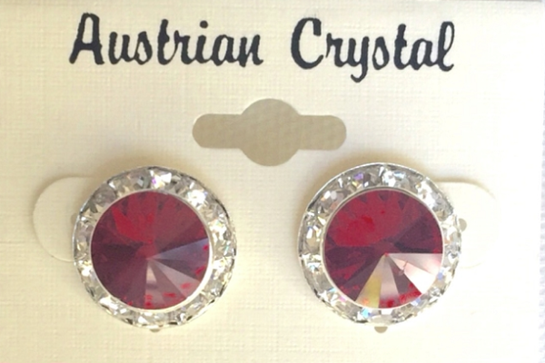 Austrian Crystal Stud Earrings - Red