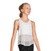 Bloch Mesh Detail Logo Elastic Girls Tank Top - White