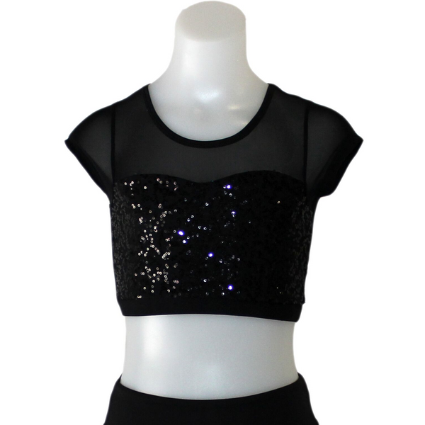 Studio 7 Attitude Sequin Crop Top - Black